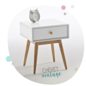 Table de chevet blanche vintage